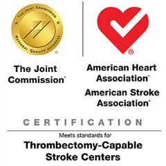 The Joint Commission, American Heart Association, American Stroke Association Certification meets standards for Thrombectomy-Capable Stroke Centers